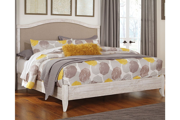 Briartown Queen Upholstered Bed, Whitewash, large