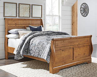Bittersweet Queen Sleigh Bed, Light Brown, rollover
