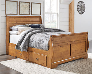 Bittersweet Queen Sleigh Bed with Storage, Light Brown, rollover