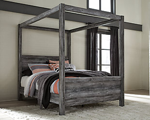 Baystorm Queen Poster Bed, Gray, rollover