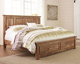 Blaneville King Panel Bed with Storage, Brown, rollover