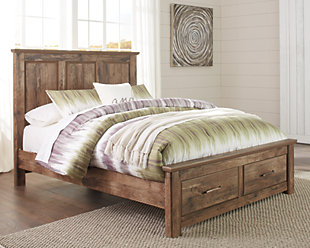 Blaneville Queen Panel Bed with 2 Storage Drawers, Brown, rollover