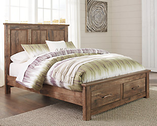 Blaneville Queen Panel Bed with Storage, Brown, large