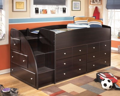 Embrace Loft Storage Bed with Right Steps by Ashley HomeS...