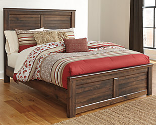 Quinden Queen Panel Bed, Dark Brown, rollover