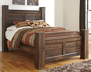 Quinden Queen Poster Bed, Dark Brown, rollover