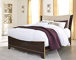 Lenmara Queen Upholstered Panel Bed, Reddish Brown, large