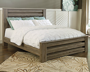 Zelen Queen Panel Bed, Warm Gray, rollover