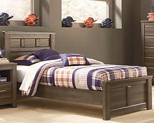 Juararo Twin Panel Bed, Dark Brown, rollover