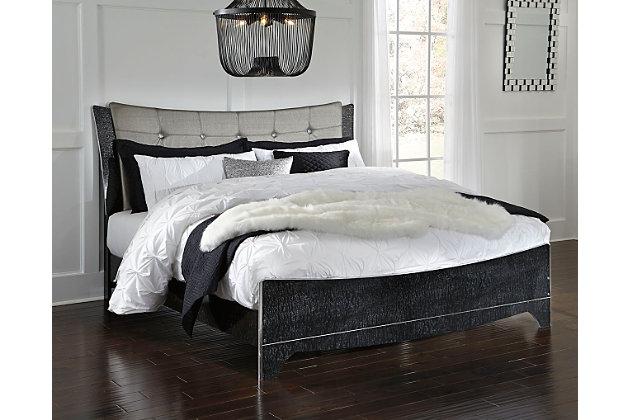 Amrothi King Upholstered Panel Bed, Black, large