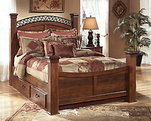 Timberline King Poster Bed with Storage, Warm Brown, rollover