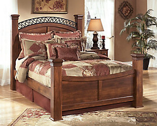 Timberline Queen Poster Bed, Warm Brown, rollover