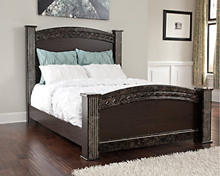 Vachel Queen Poster Bed, Dark Brown, rollover