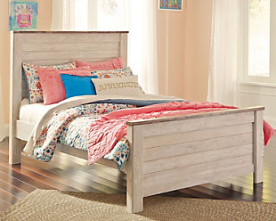 Willowton Full Panel Bed, Whitewash, rollover