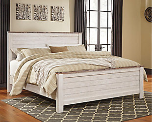 Willowton California King Panel Bed, Whitewash, rollover