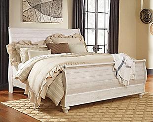 Willowton King Sleigh Bed, Whitewash, large