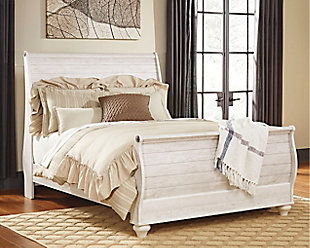 Willowton Queen Sleigh Bed, Whitewash, large
