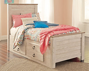 Willowton Twin Panel Bed with 2 Storage Drawers, Whitewash, rollover