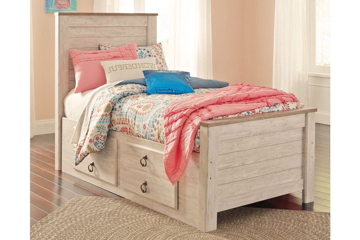 Remarkable Willowton Twin Panel Bed With 2 Storage Drawers Ashley Caraccident5 Cool Chair Designs And Ideas Caraccident5Info
