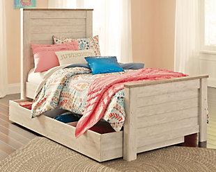 Willowton Twin Panel Bed with 1 Large Storage Drawer, Whitewash, rollover