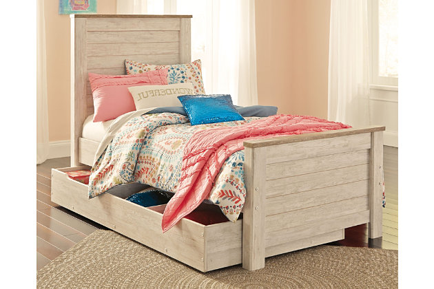 Willowton Twin Panel Bed with 1 Large Storage Drawer, Whitewash, large