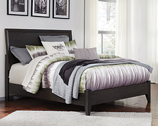 Daltori Queen Panel Bed, Black, rollover