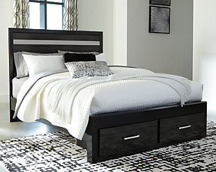 Starberry Queen Panel Bed with 2 Storage Drawers, Black, rollover