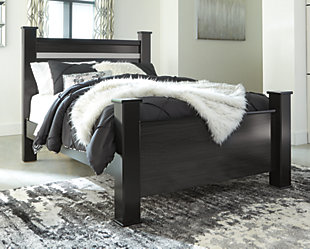 Starberry Queen Poster Bed, Black, rollover