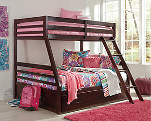Large Halanton Twin Over Full Bunk Bed W Storage Rollover