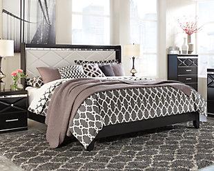 Fancee King Panel Bed, Black, large