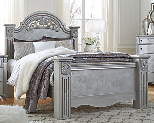 Zolena Queen Poster Bed, Champagne, large