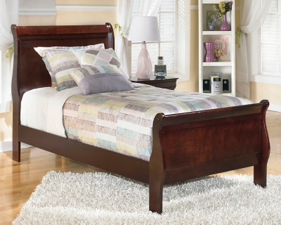 New Sleigh Bed Dark Brown Twin Product Photo