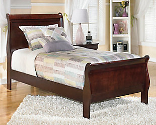 Alisdair Twin Sleigh Bed, Dark Brown, rollover