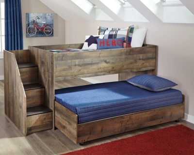 Ashley Trinell Twin Loft Bed with Caster, Brown
