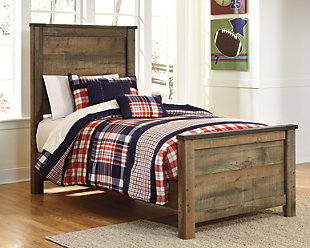 Trinell Twin Panel Bed, Brown, rollover