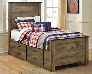 Trinell Twin Panel Bed with 2 Storage Drawers, Brown, rollover