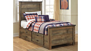 Trinell Twin Panel Bed with Drawer Storage, Brown, rollover