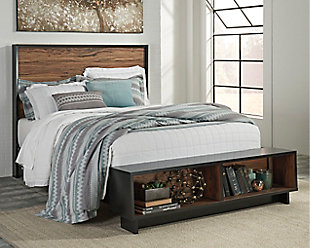 Stavani Queen Panel Bed with Storage, Black/Brown, rollover