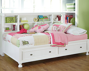 Kaslyn Full Bookcase Bed, White, rollover