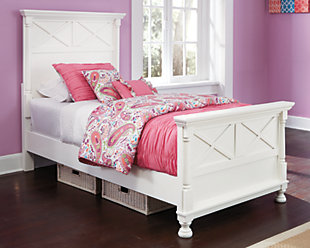 Kaslyn Twin Panel Bed, White, rollover