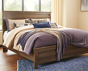Morraly Queen Panel Bed, Grayish Brown, rollover