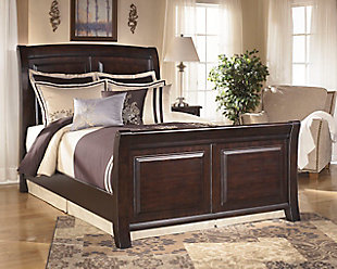 Ridgley Queen Sleigh Bed, Dark Brown, rollover
