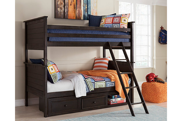 Jaysom Twin over Twin Bunk Bed with Storage, , large