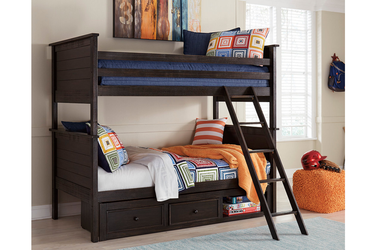 Jaysom Twin over Twin Bunk Bed with Storage  Ashley Furniture