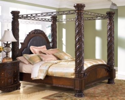 North Shore King Poster Bed with Canopy, Dark Brown, large