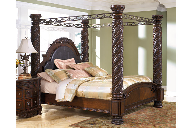 north shore king poster bed with canopy | ashley furniture homestore