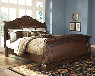 North Shore King Sleigh Bed, Dark Brown, rollover