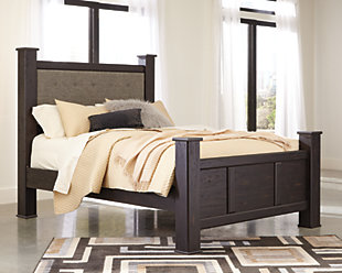 Reylow Queen Poster Bed, Dark Brown, rollover