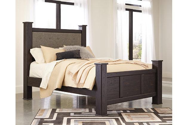 Reylow Queen Poster Bed, Dark Brown, large