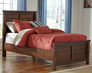 Ladiville Kids Twin Panel Bed, Rustic Brown, rollover